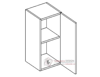 PREMIUM de LUX, horní skříňka 1-dvéřová W30P - pravá, hruška