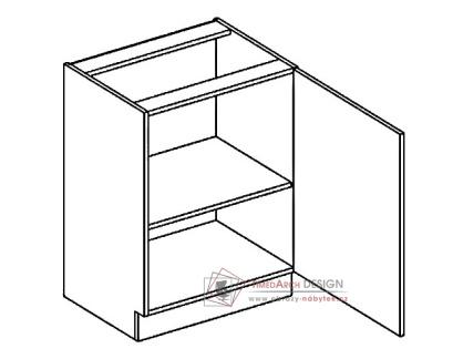 Dolní skříňka jednodvéřová D60P PREMIUM de LUX hruška - pravá