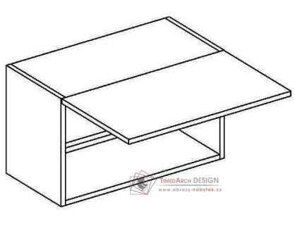 MERLIN, horní skříňka nad digestoř WO 60/30, šedá / bílý lesk