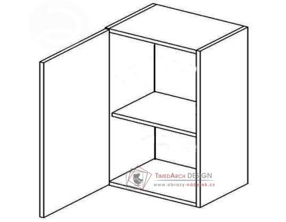MERLIN, horní skříňka 1-dvéřová W60L - levá, šedá / bílý lesk
