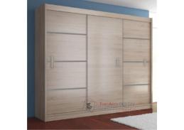 Skříň  MERINA 250cm s posuvnými dveřmi dub sonoma/ šedá