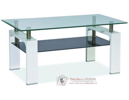 Konferenční stolek LISA II bílý lak / sklo