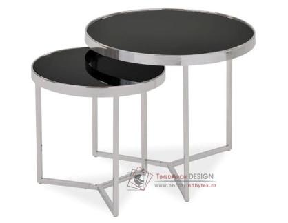 DELIA II, konferenční stolky - sada 2ks, chrom / černé sklo