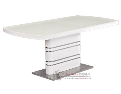 GUCCI, jídelní stůl rozkládací, chrom / bílý lak / sklo