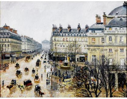 VCP-358 Camille Pissarro - Náměstí Place Theatre v Paříži za déště