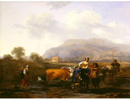 Slavné obrazy XI-112 Nicolaes Pieterszoon Berchem - Rolníci na cestě