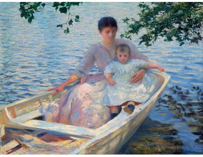 Slavné obrazy XII-104 Edmund Charles Tarbell - Matka a dítě na loďce