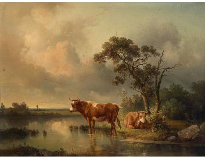 Slavné obrazy XII-107 Edmund Mahlknecht - Krávy u rybníka