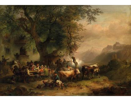 Slavné obrazy XIV-57 Friedrich Gauermann - Střelba v Passeyertal