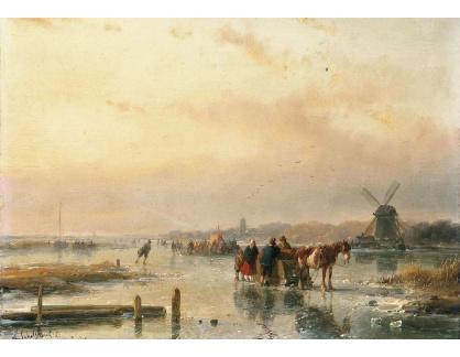 Slavné obrazy XVI-166 Andreas Schelfhout - Shromáždění na ledě koncem zimního dne