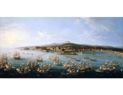 Slavné obrazy XVI-224 Antonio Joli - Karel III opouštějící přístav v Neapoli