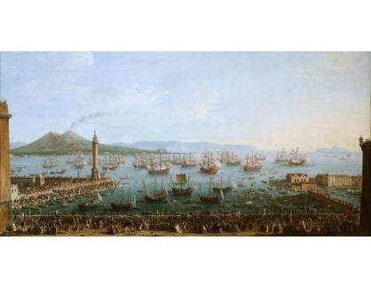 Slavné obrazy XVI-225 Antonio Joli - Odchod Karla III z Neapole