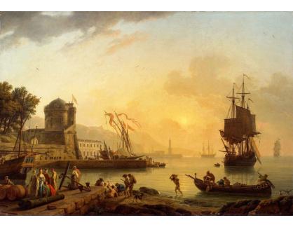 Slavné obrazy XVI-414 Claude-Joseph Vernet - Pohled na pobřeží moře s budovami, loděmi a postavami