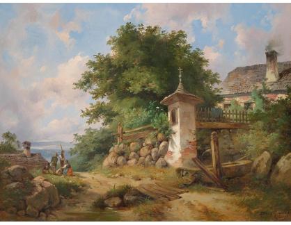 Slavné obrazy XVI-483 Dominik Schuhfried - Vesnická krajina