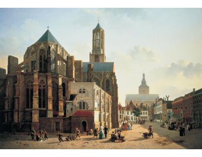 Krásné obrazy IV-55 Jan Hendrik Verheyen - Pohled na věže katedrály v Utrechtu
