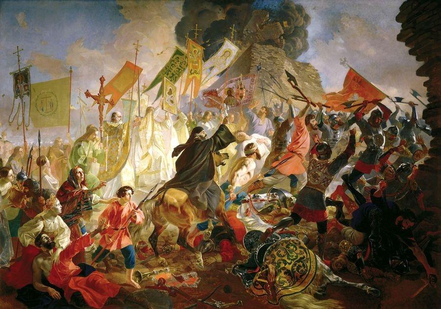 R78 Karl Briullov - Obležení Pskova, polský králem Stefan Batory v roce 1581