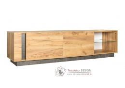 ARCHI, televizní stolek s LED osvětlením 2D, dub kraft zlatý / tmavý kámen