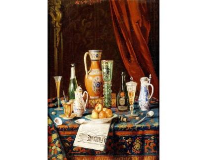 Krásné obrazy II-436 Moritz Mansfeld - Zátiší s porcelánem a novinami