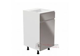 AURORA, dolní kuchyňská skříňka D40S1 - pravá, bílá / šedý lesk