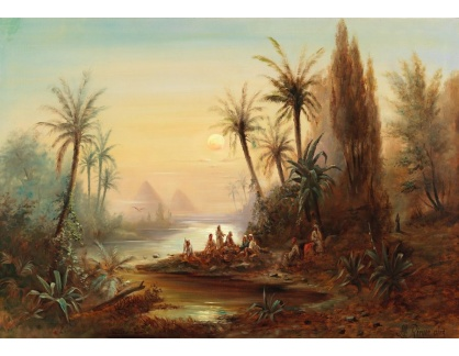 Slavné obrazy II-DDSO-400 Albert Rieger - Večer na Nilu