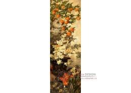 D-9917 Hermine Freiin von Preuschen - Kvetoucí oranžové větvičky a azalky v bronzové váze