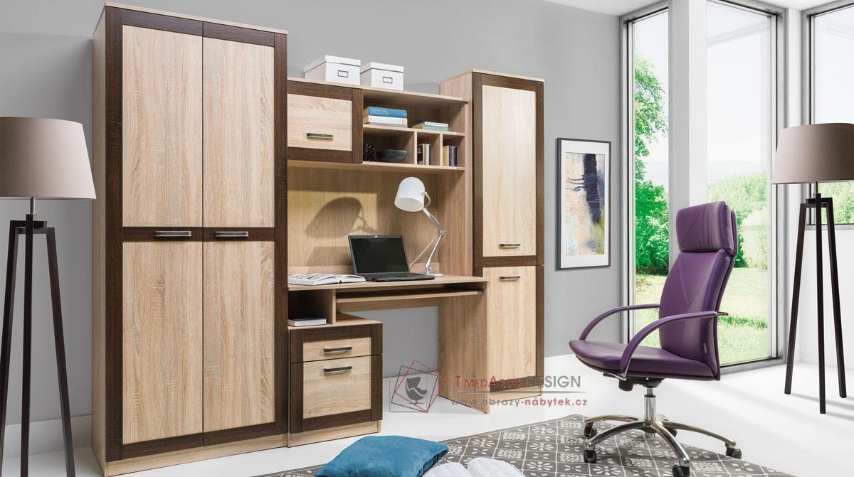 BOSS, Obývací sestava nábytku 3 dub sonoma / dub čokoládový