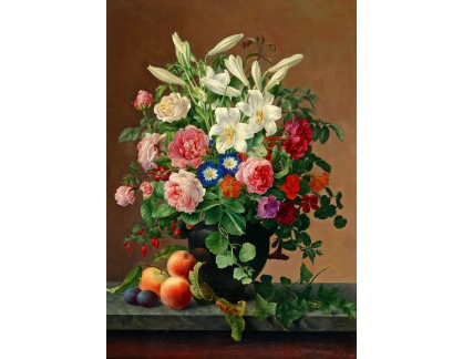 Slavné obrazy I-DDSO-362 Vilhelm Julius Hoyer - Růže a lilie ve váze