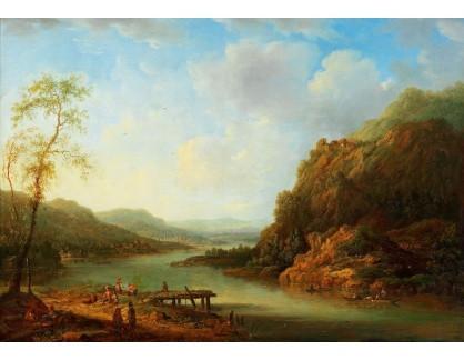 Slavné obrazy III-DDSO-526 Christian Georg Schütz - Krajina Rýna s rybáři