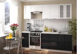 VALERIA, kuchyně 240cm, bílá / bílý metalic / černý metalic