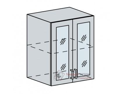 VICTORIE, horní vitrína 2-dveřová 60HS, bílá / bílý santál