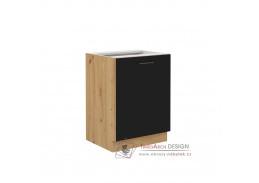 MONROVIA, dolní skříňka 1-dveřová 60 D 1F BB, dub artisan / černý mat