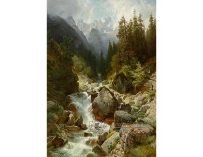 Slavné obrazy I-DDSO-229 Johann Gottfried Steffan - Horský potok v oblasti Partenkirche