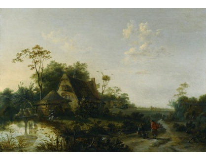 Slavné obrazy XVI-425 Cornelis Snellinck - Krajina s postavami, chalupou a rybníkem