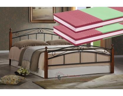 CRETA, kovová postel 180x200cm, černá / třešeň + 2ks matrace NATURA 1A