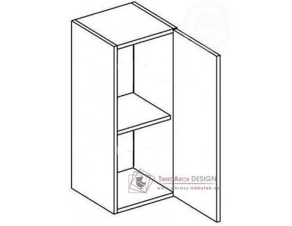 MERLIN, horní skříňka 1-dvéřová W30P - pravá, šedá / bílý lesk