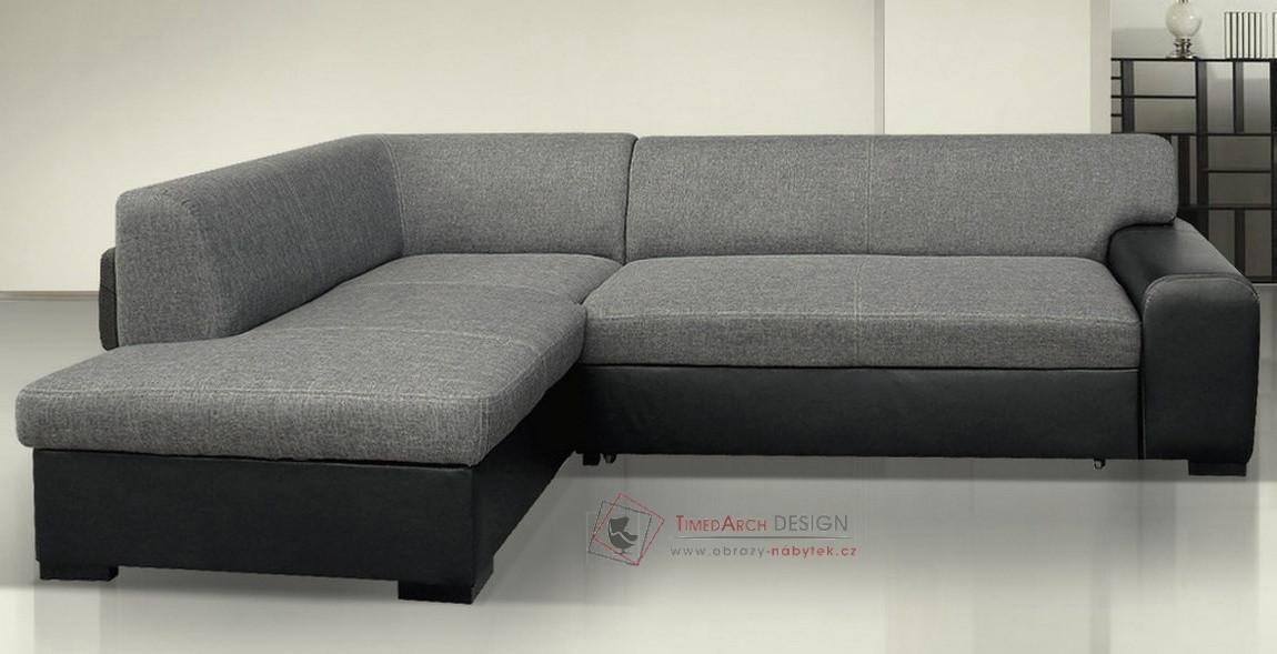 Rozkládací rohová sedačka MINOS M1100/S21 ekokůže černá / látka šedá - levá