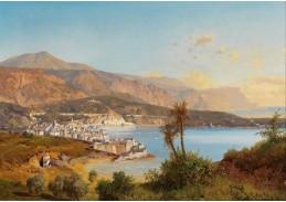 Slavné obrazy II-DDSO-395 Albert August Zimmermann - Výhled na zátoku Villefranche-sur-Mer s Monakem v pozadí