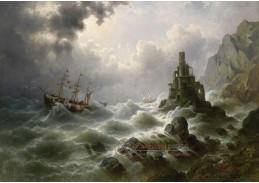 Slavné obrazy V-105 J. Claiton - Rozbouřené moře u majáku