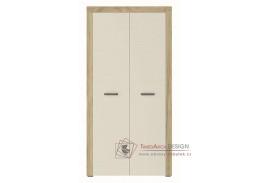 DENVER, šatní skříň 2-dveřová 2D, dub kraft zlatý / vanilka