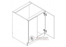 ARMOY, dolní koupelnová skříňka 2-dveřová D70 ZPR s PD, bílá / bílý lesk