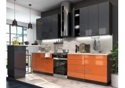VALERIA, kuchyně 240cm,  wenge / oranžový lesk / antracitový lesk