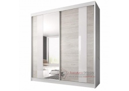 MULTI 32, skříň s posuvnými dveřmi 203cm, bílá / dub kathult světlý