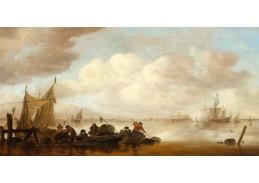 D-6563 Jan van Goyen - Rybářské lodě a fregata zdravící palbou