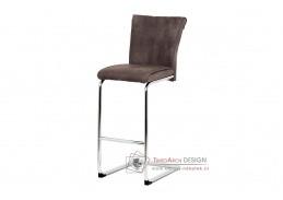 BAC-192 BR, barová židle, chrom / ekokůže hnědá