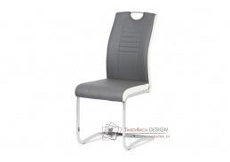 DCL-406 GREY, jídelní židle, chrom / ekokůže + bílá