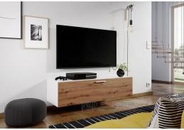 ALABAMA, televizní stolek, bílá / dub artisan