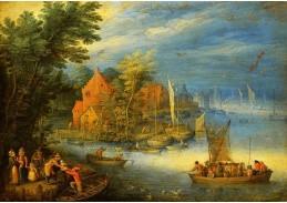 BRG-09 Jan Brueghel - Městečko na břehu široké řeky s připlouvající lodí