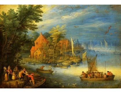 BRG-09 Jan Breughel - Městečko na břehu široké řeky s připlouvající lodí