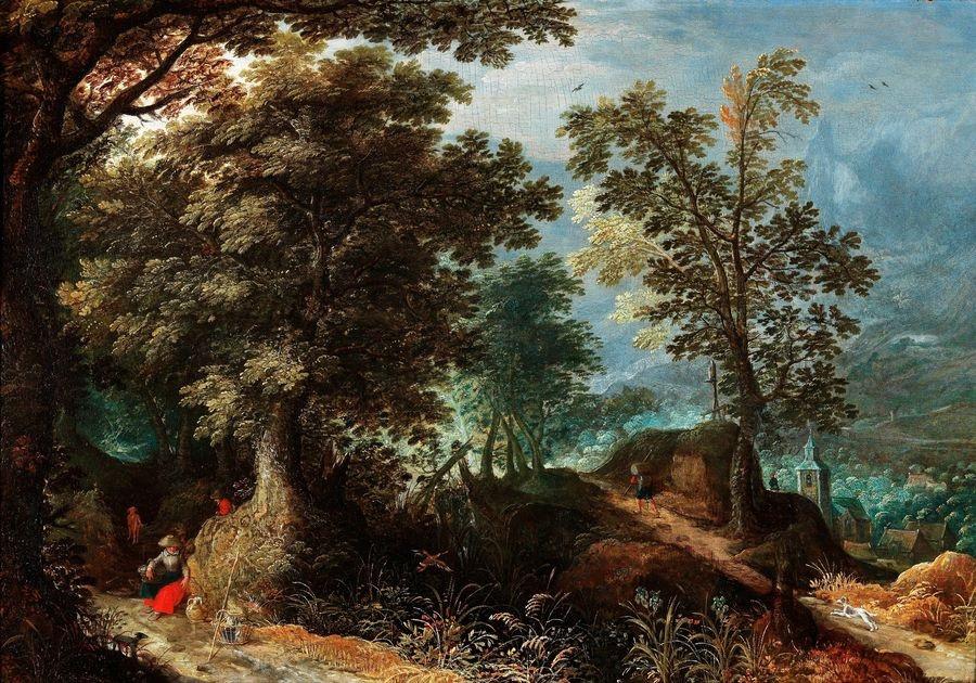 Slavné obrazy II-DDSO-370 Abraham Govaerts - Zalesněná krajina s cestujícími