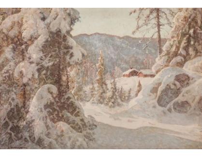 Slavné obrazy XVI-183 Anshelm Schultzberg - Pohled do zimní zasněžené krajiny